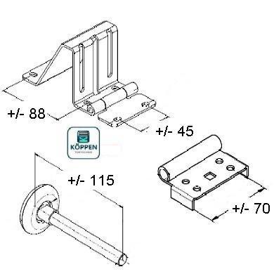 scharnier seitenscharnier mit rollenhalter und laufrolle h rmann ersatzteile g nstig f r tore. Black Bedroom Furniture Sets. Home Design Ideas