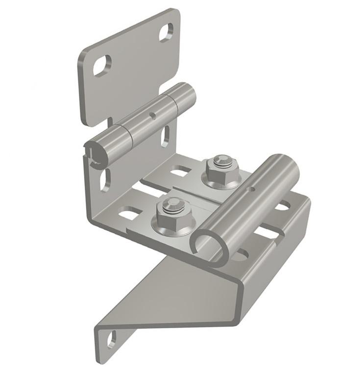 Scharnier Seitenscharnier / Scharnierbock mit Rollenhalter