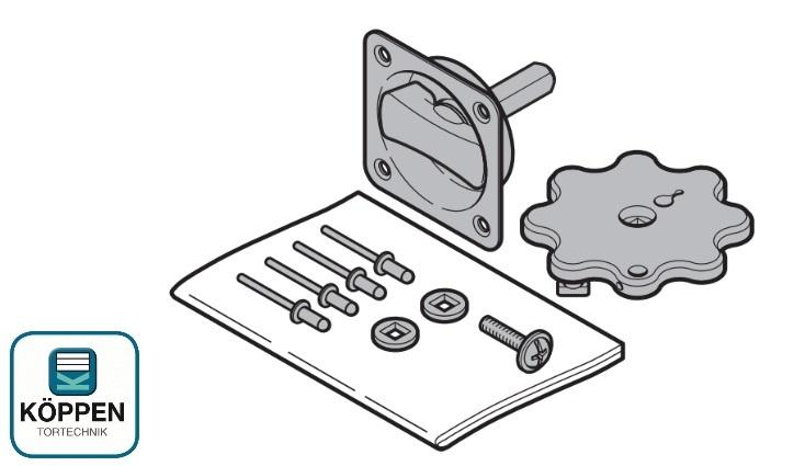 Griffgarnitur Muschelgriff mit Innengriff für RollMatic