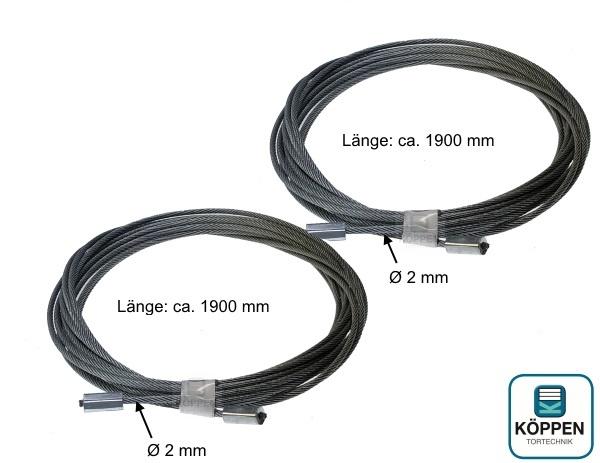 Stahlseil 2 mm Durchmesser, L= 1900 mm (2 Stück)