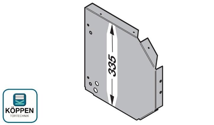 Seitenverkleidung links für eine Konsolenhöhe von 335mm