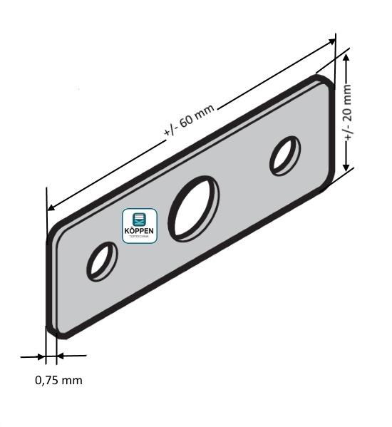 Distanzblech Scharnier 60 x 20 x 0,75 mm passend zu