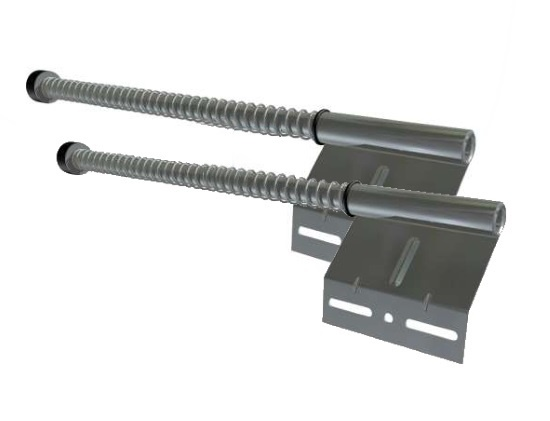 Federpuffer Standard Ausführung 680 mm mit Montageplatte