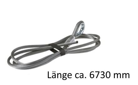 Drahtseil Ø 5,5 mm mit Kausche und Preßklemme L= +/- 6730 mm